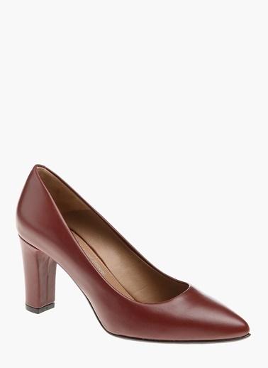 Divarese Kalın Topuklu Deri Ayakkabı Bordo